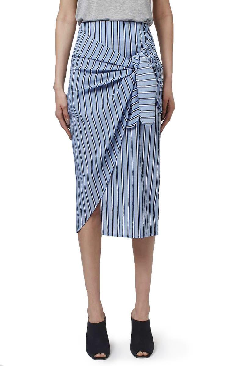 TOPSHOP BOUTIQUE Stripe Faux Wrap Skirt, Main, color, 450