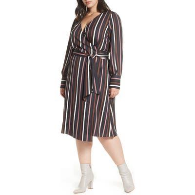 Plus Size Halogen Wrap Dress, Black