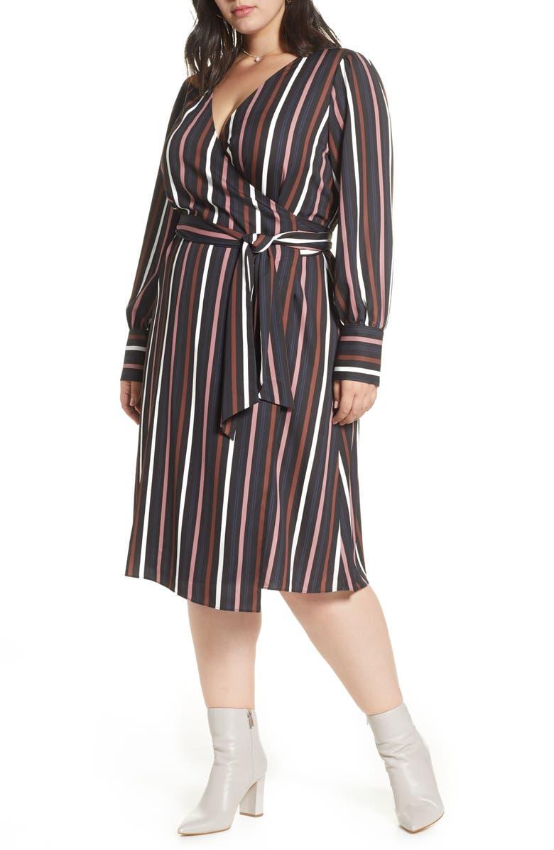 HALOGEN<SUP>®</SUP> Wrap Dress, Main, color, BLACK STRIPE