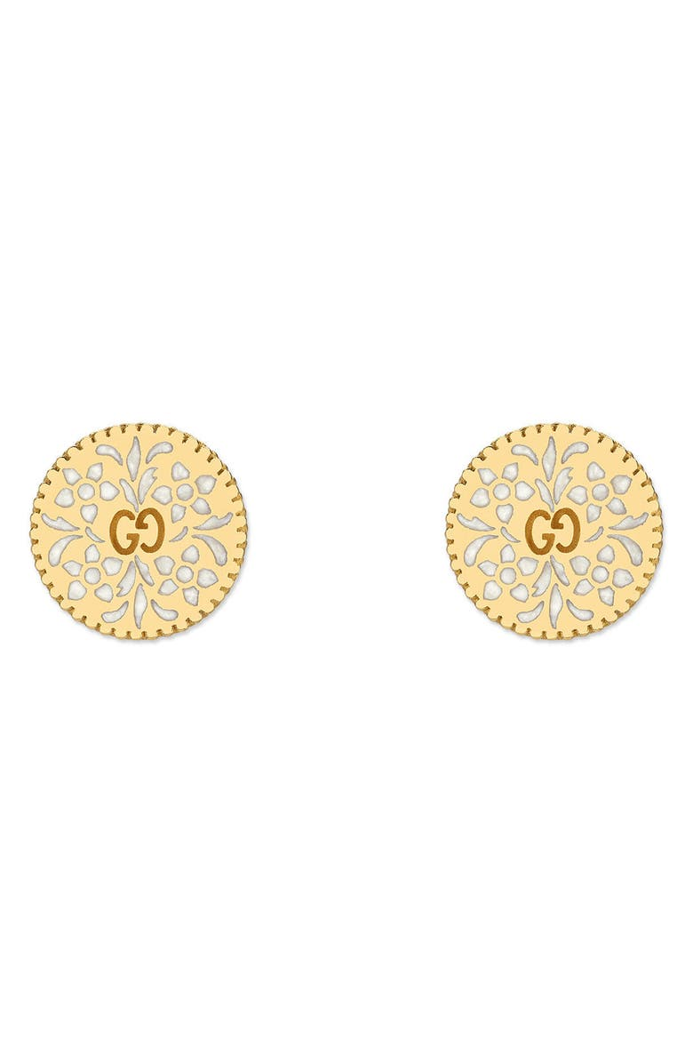 GUCCI Icon Blooms Stud Earrings, Main, color, YELLOW GOLD