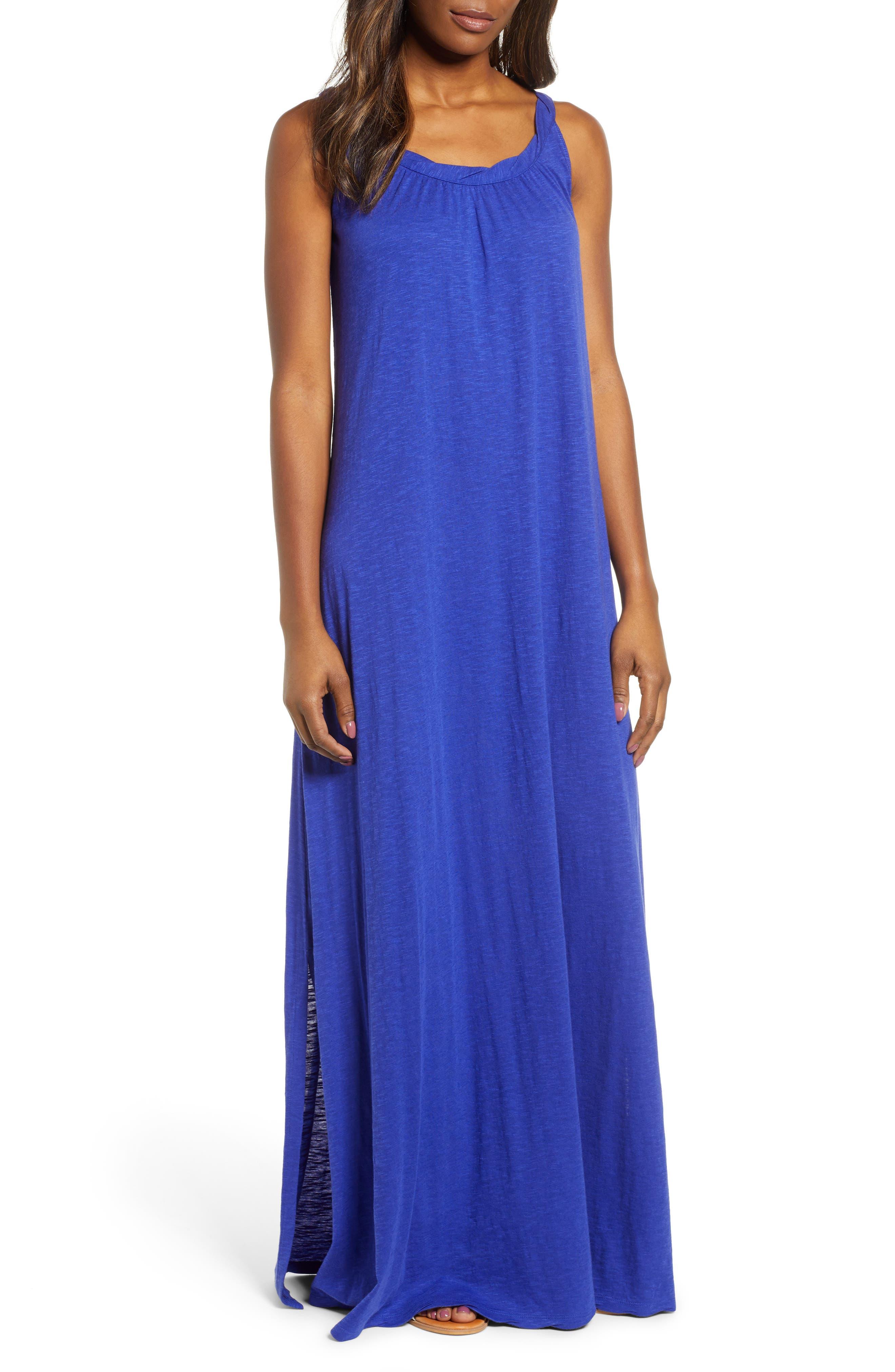 Caslon Twist Neck Maxi Dress, Blue