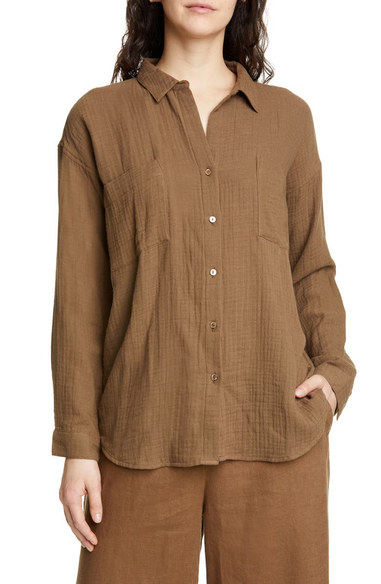 EILEEN FISHER Crinkled Cotton Button Up Blouse, Main, color, PINE NEEDLE