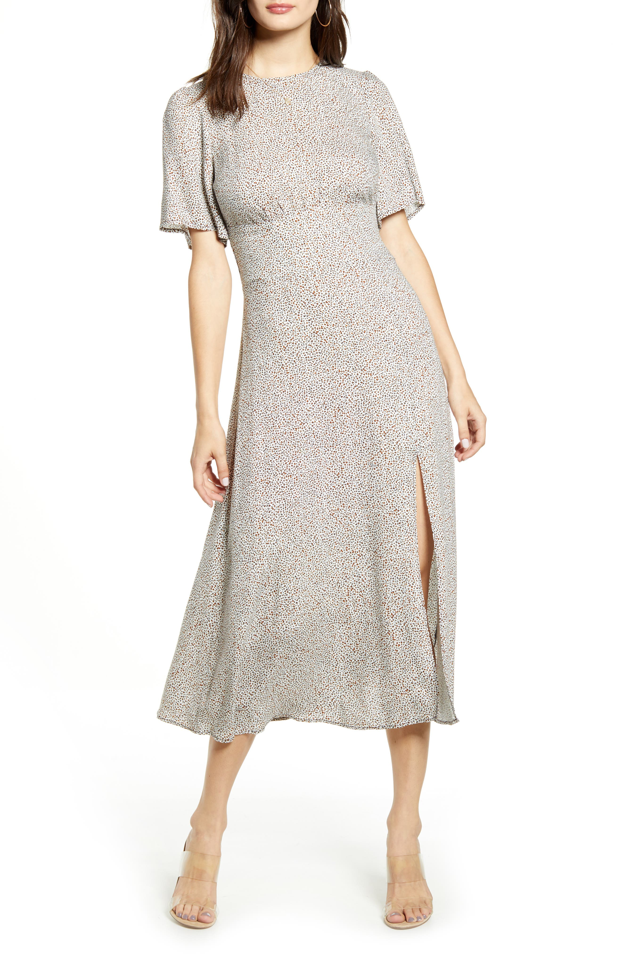 Afrm Janice Midi Dress, Beige