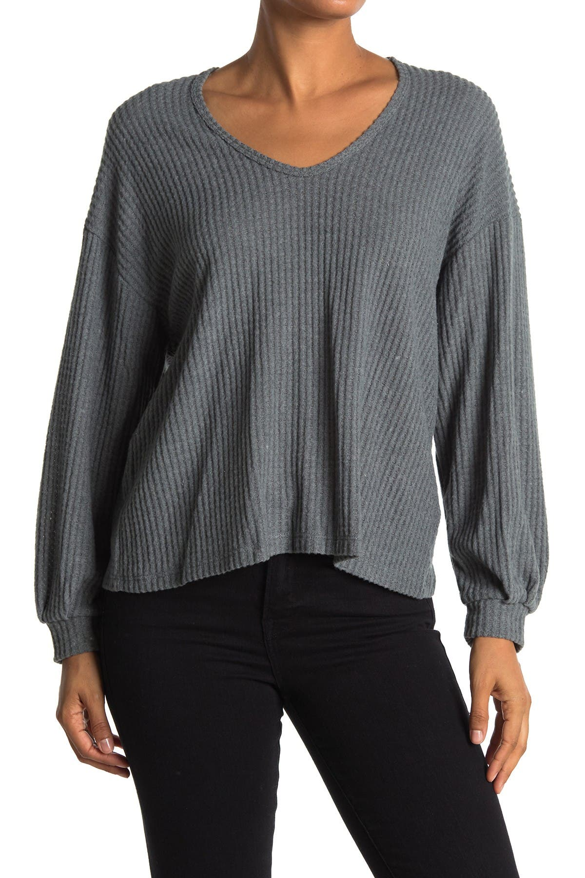 Image of Lush Scoop Neck Balloon Sleeve Thermal Top