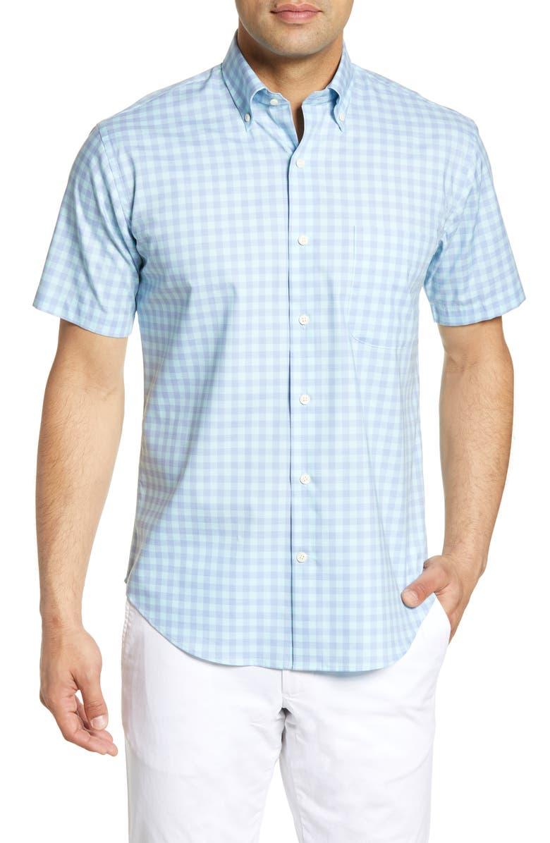 Peter Millar Crown Ease Regular Fit Check Short Sleeve Button Down Shirt