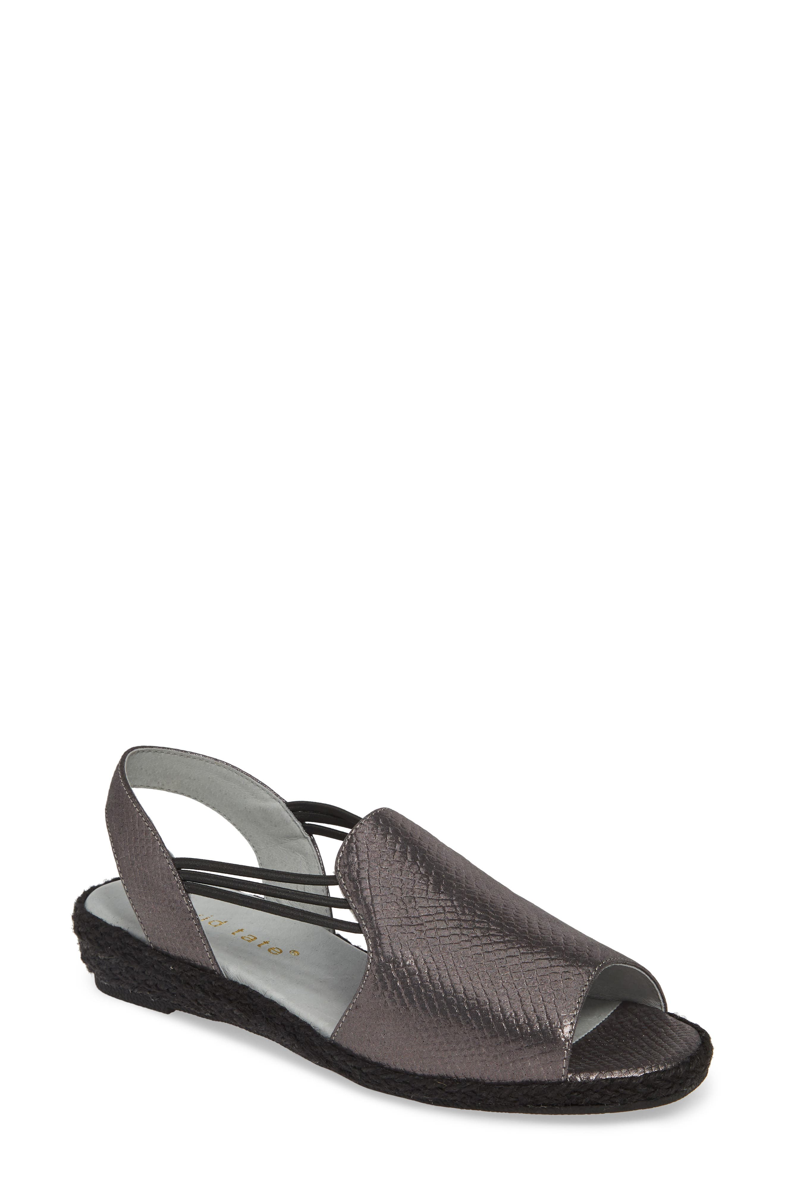 June Wedge Sandal, Main, color, BLACK LEATHER