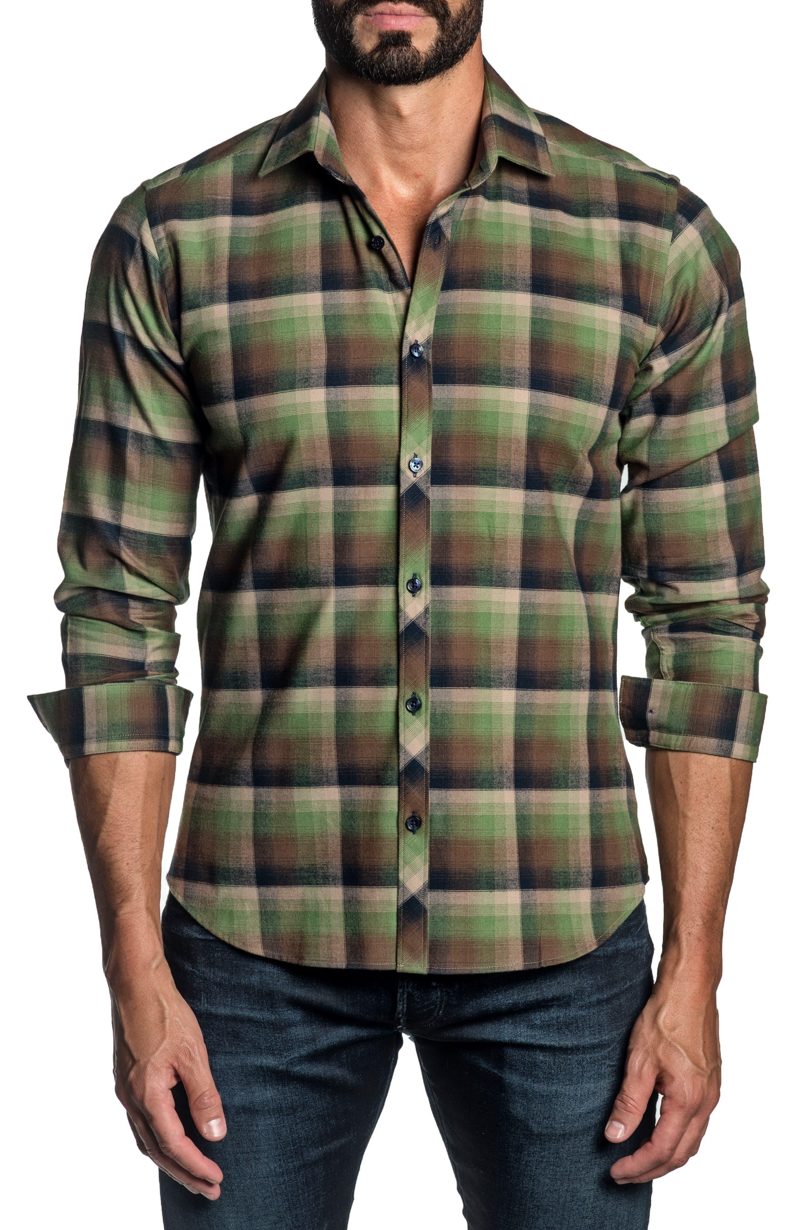 Regular Fit Plaid Button-Up Shirt