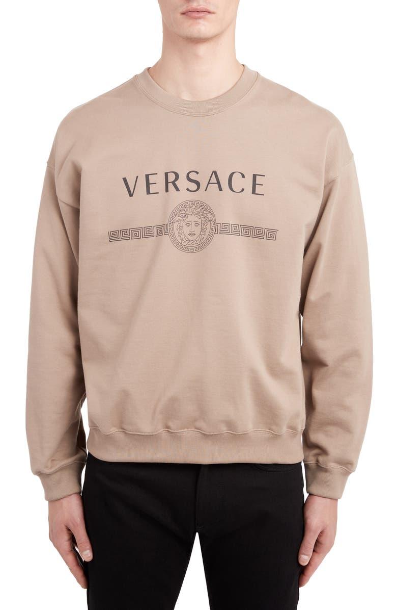 VERSACE Logo Sweatshirt, Main, color, BEIGE