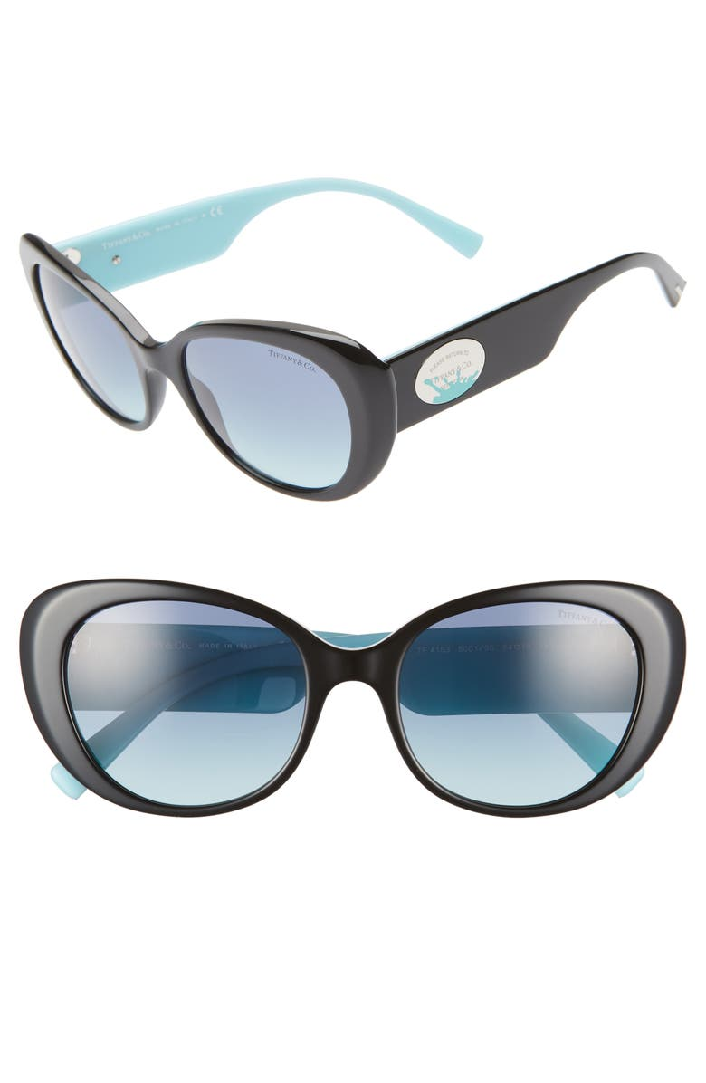 TIFFANY & CO. Return to Tiffany 54mm Oval Sunglasses, Main, color, BLACK/ BLUE GRADIENT