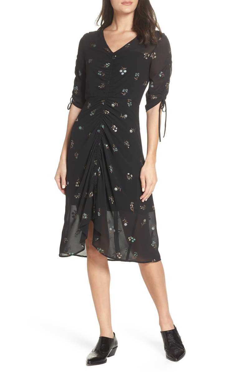 SAM EDELMAN Floral Midi Dress, Main, color, 001