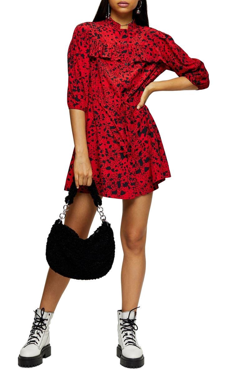 TOPSHOP Animal Print Tie Waist Mini Shirtdress, Main, color, RED MULTI
