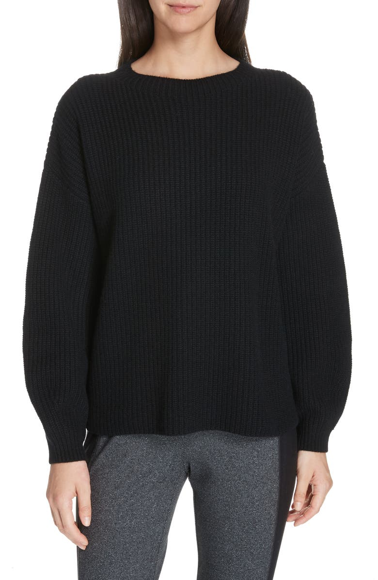 EILEEN FISHER Crewneck Shaker Cashmere Sweater, Main, color, 001
