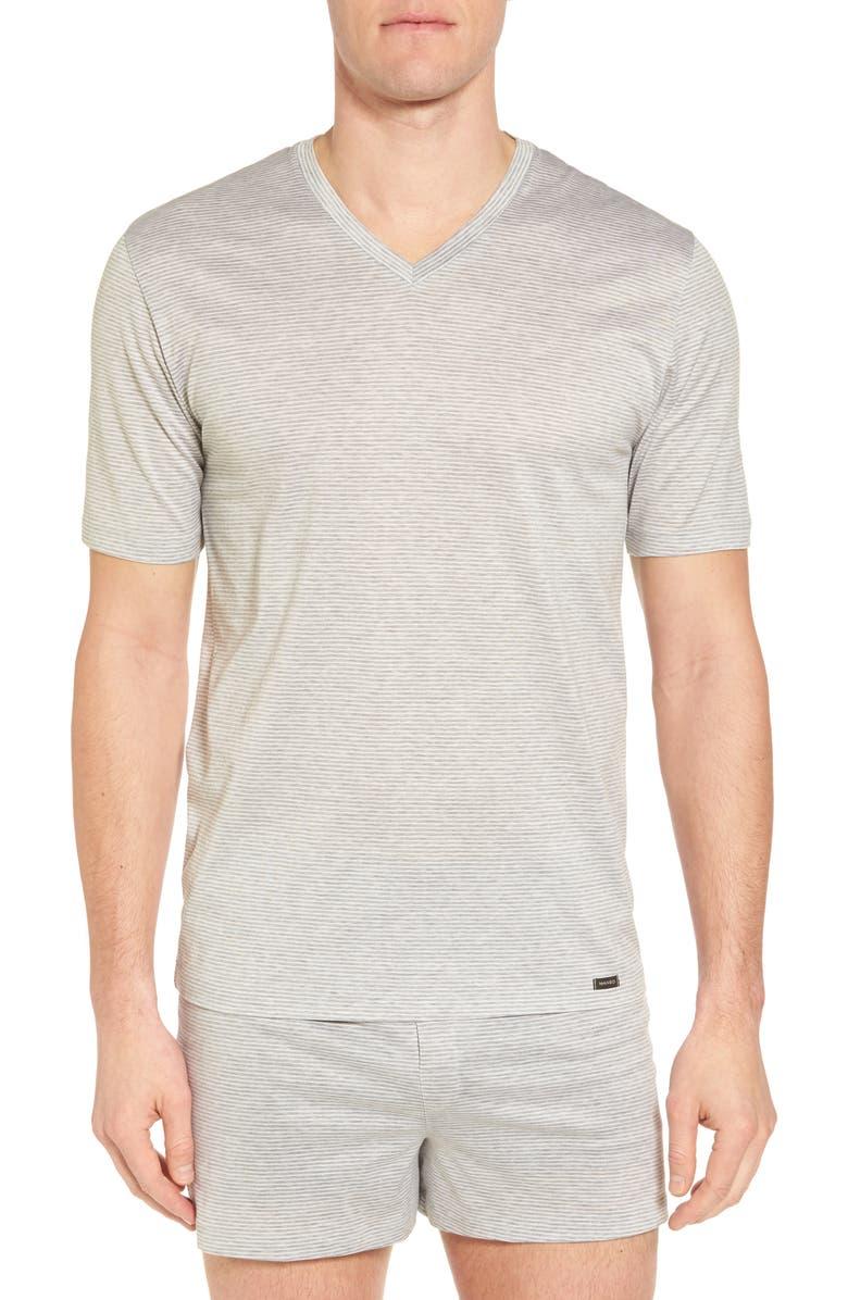 HANRO Sporty Stripe Cotton V-Neck T-Shirt, Main, color, 008
