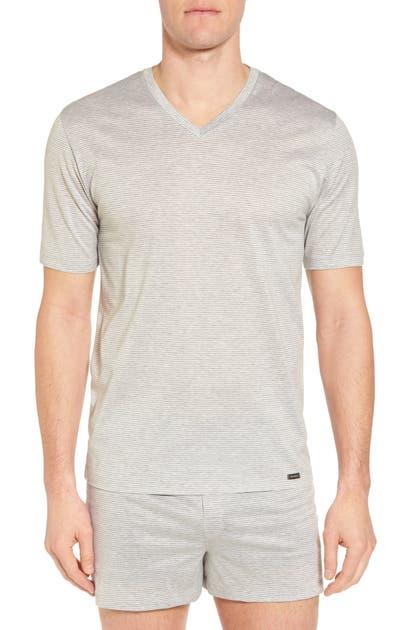 Hanro T-shirts SPORTY STRIPE COTTON V-NECK T-SHIRT