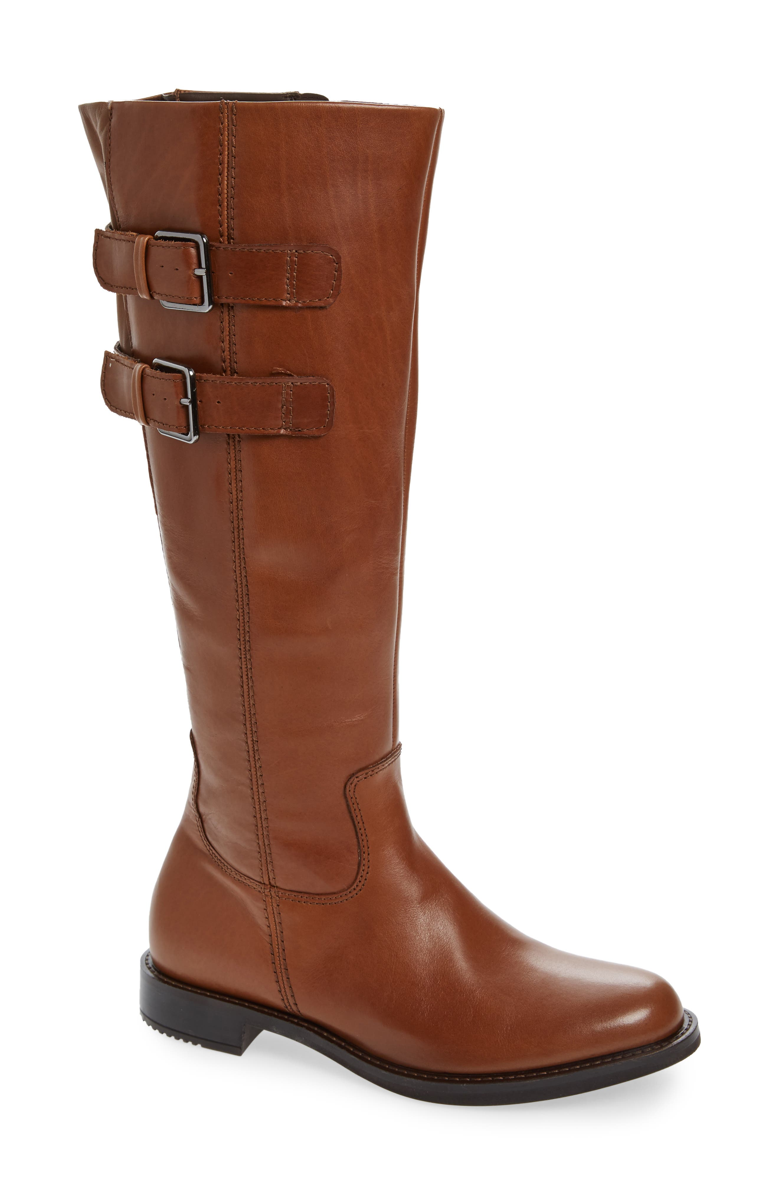 Shape 25 Tall Buckle Boot, Main, color, CAMEL LEATHER