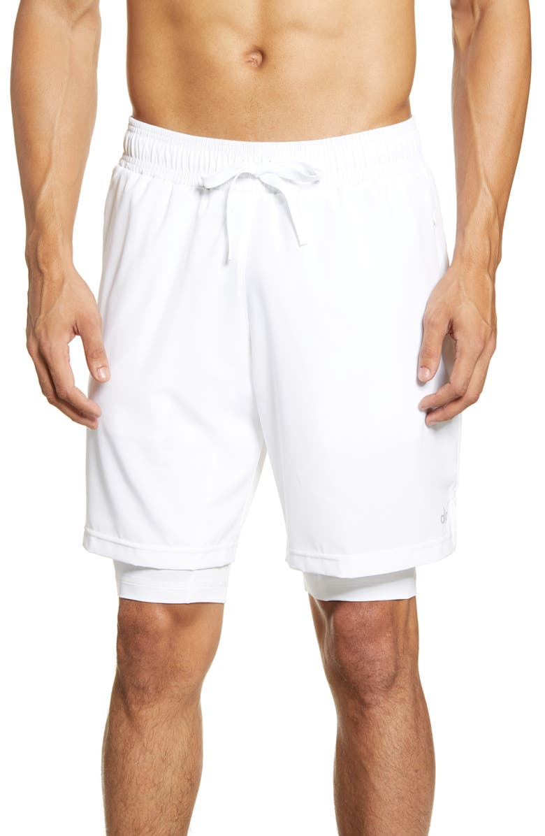 ALO Unity 2-in-1 Shorts, Main, color, WHITE/WHITE