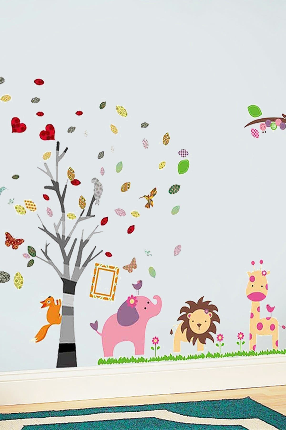 Image of WalPlus Colorful Animals & Tree Wall Sticker Set