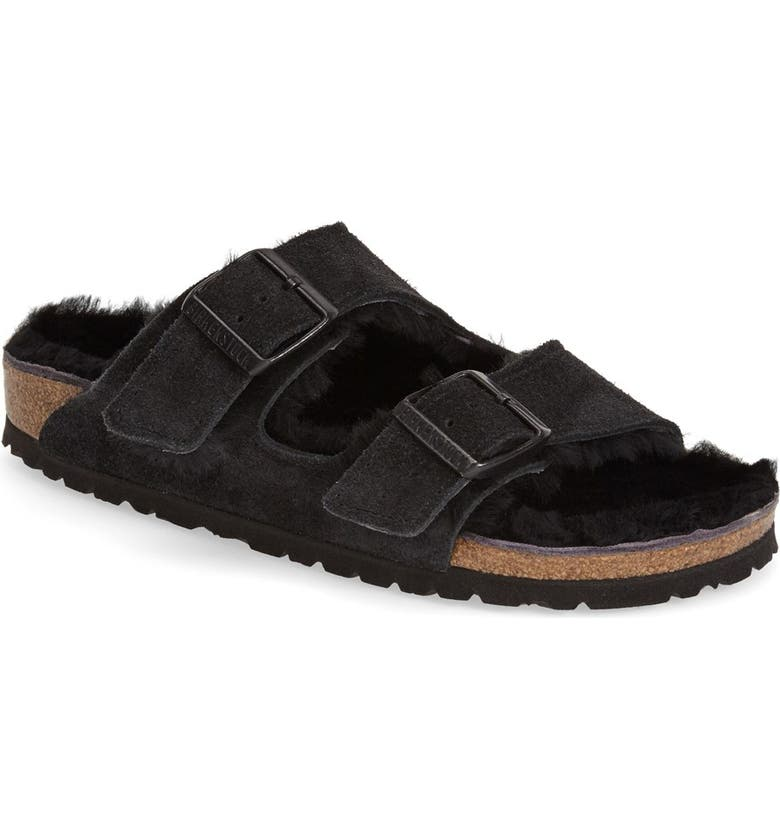 BIRKENSTOCK Arizona Genuine Shearling Lined Slide Sandal, Main, color, Black