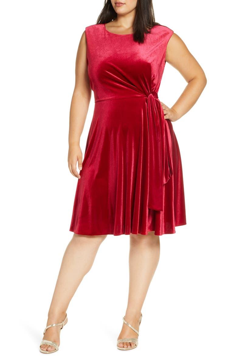 TAHARI Stretch Velvet Fit & Flare Dress, Main, color, RUBY