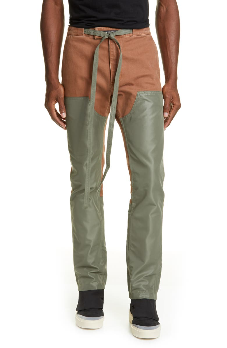 FEAR OF GOD Double Front Nylon & Canvas Work Pants, Main, color, BRICK/ ARMY GREEN