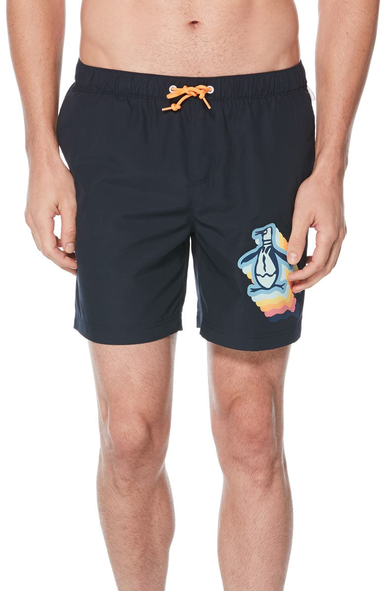 ORIGINAL PENGUIN Pete Print Volley Swim Trunks, Main, color, DARK SAPPHIRE