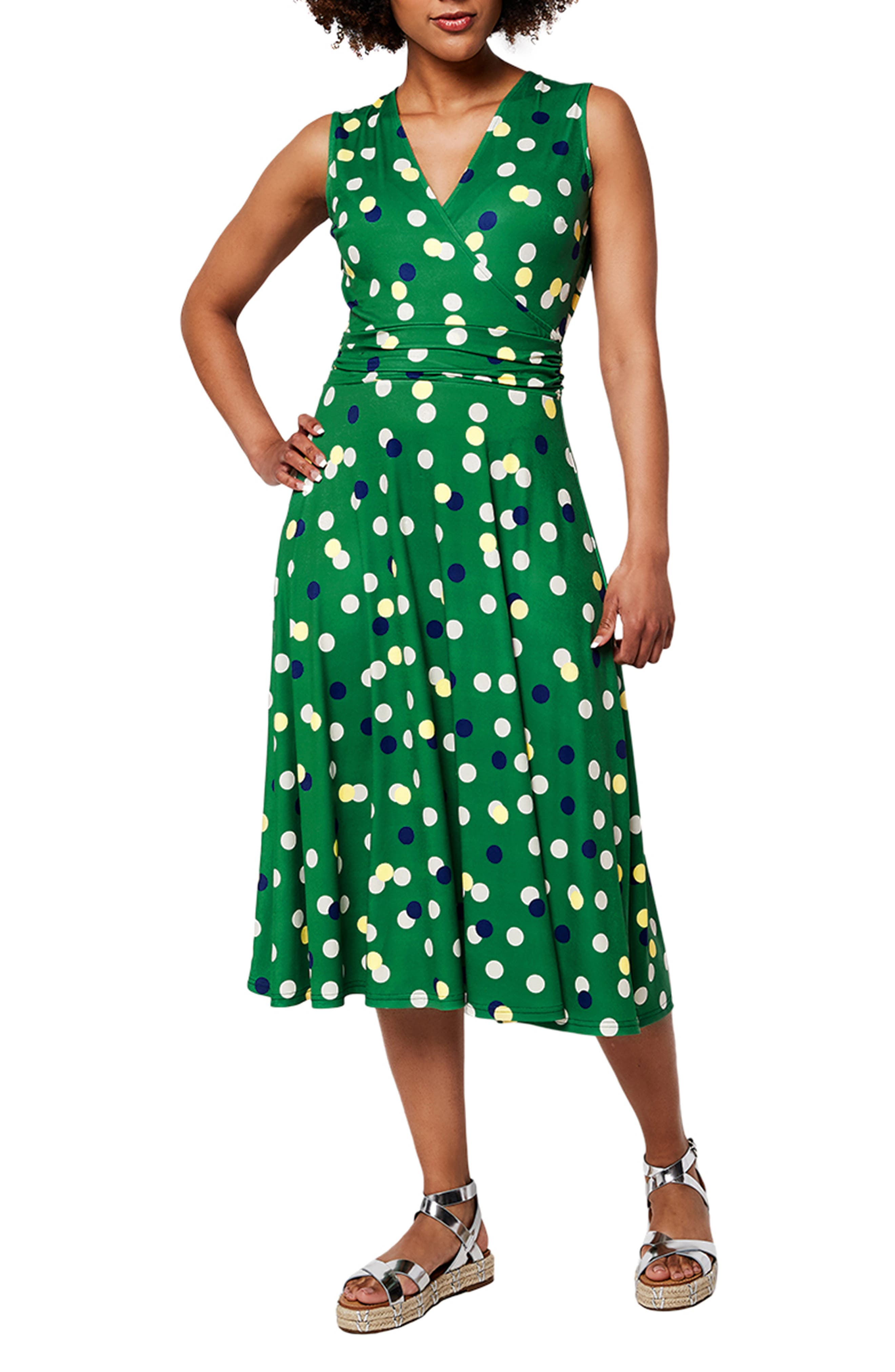 Cindy Print Ruched Waist Midi Dress