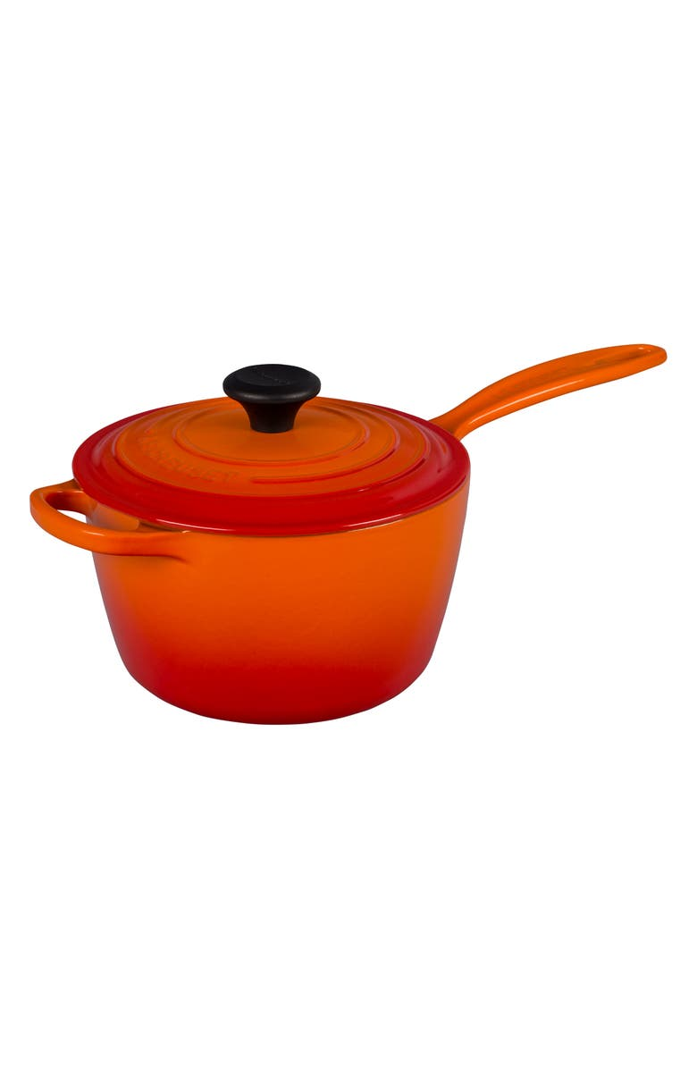 LE CREUSET Signature 2 1/4-Quart Cast Iron Saucepan, Main, color, FLAME