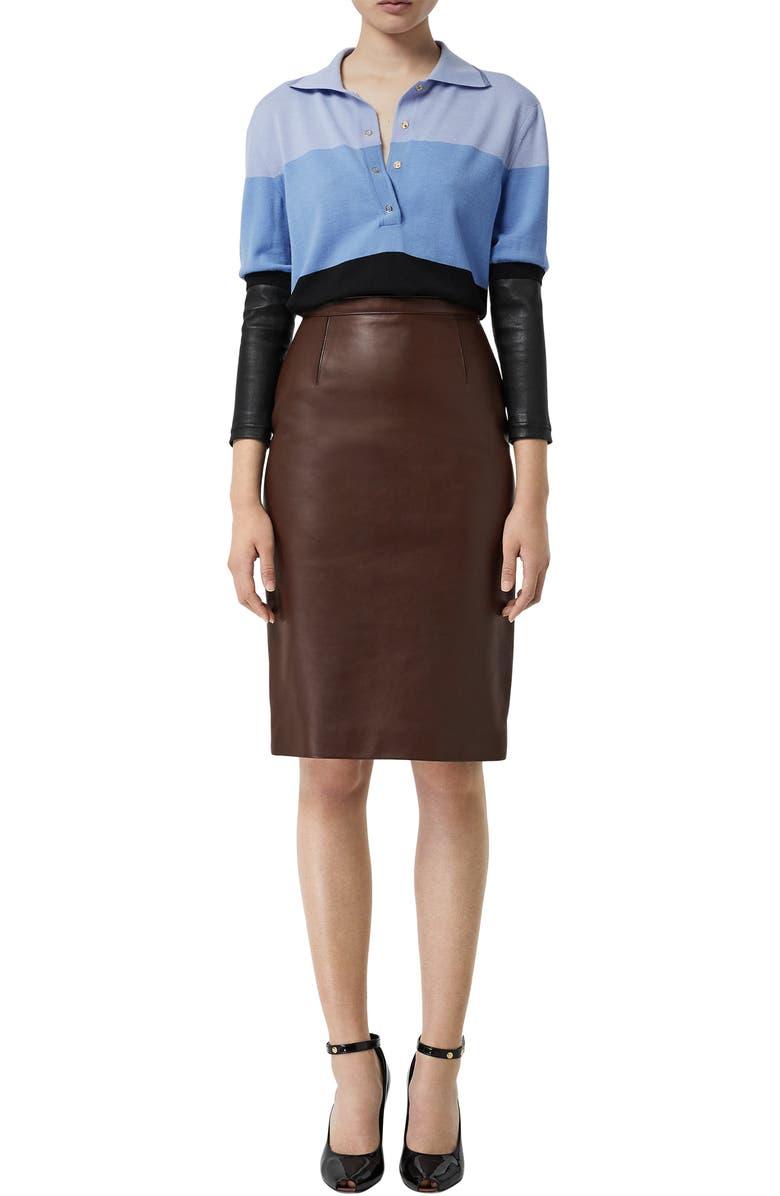 BURBERRY High Waist Tailored Leather Pencil Skirt, Main, color, MAHOGANY