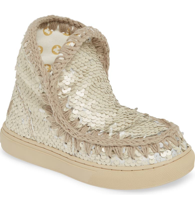 MOU Sequin Sneaker Boot, Main, color, SILVER SEQUIN EMBOSSED