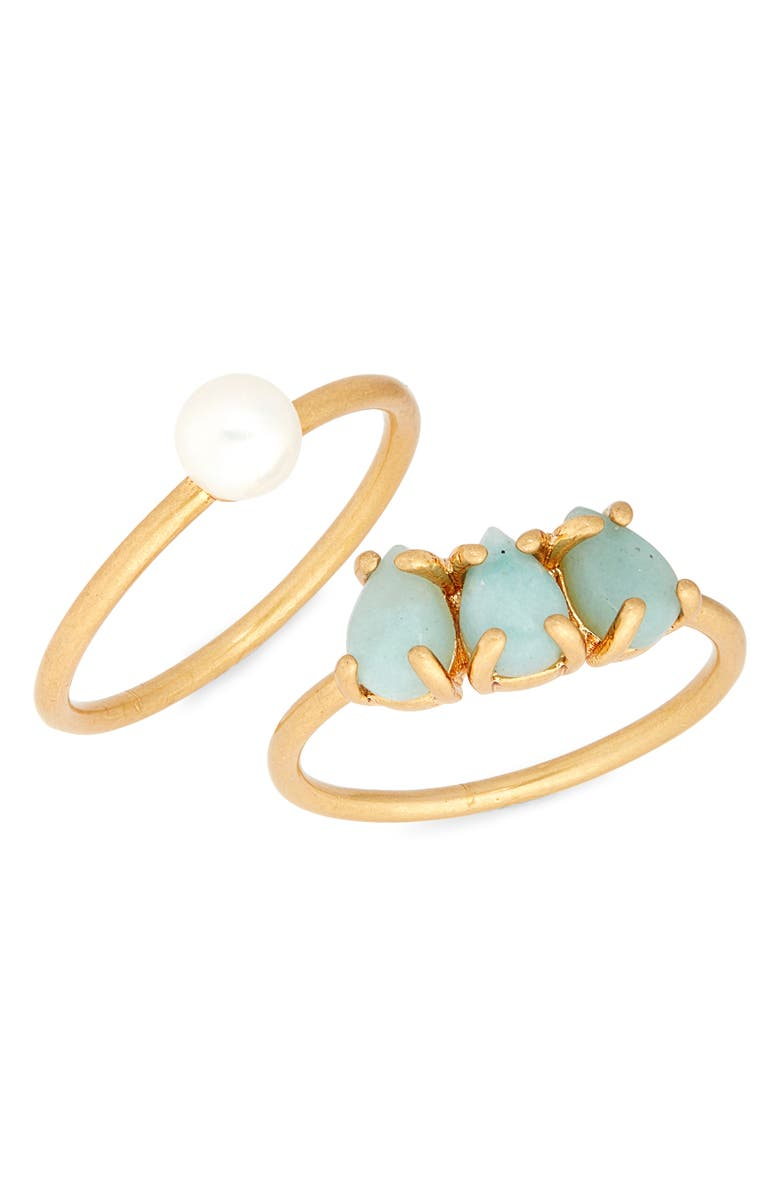 MADEWELL Amazonite Ring Set, Main, color, CLASSIC PEARL