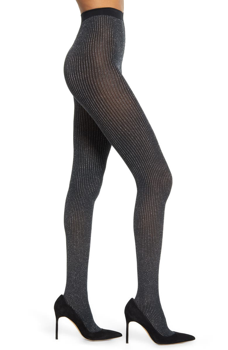 WOLFORD Dora Shimmer Tights, Main, color, BLACK/SILVER