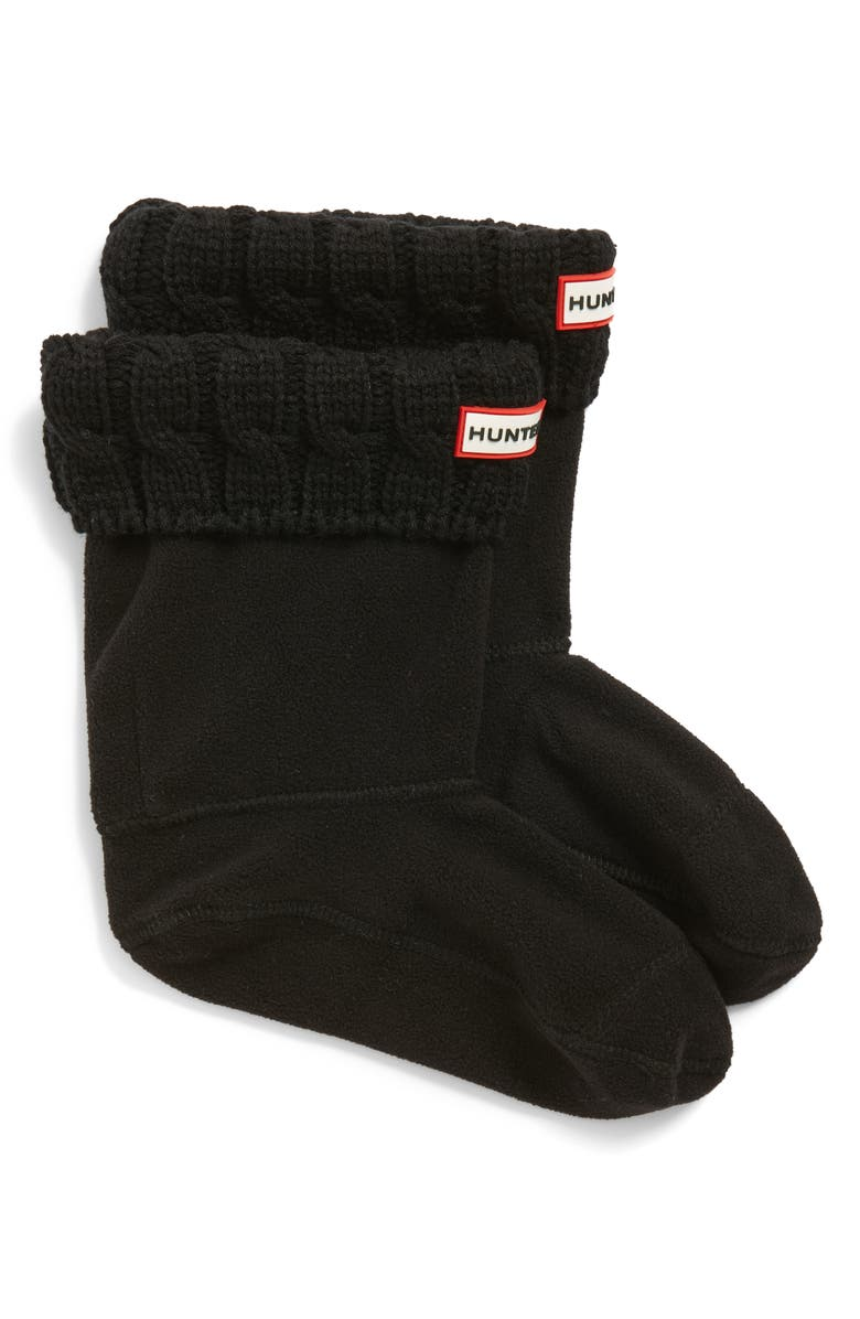 HUNTER Original Short Cable Knit Cuff Welly Boot Socks, Main, color, BLACK