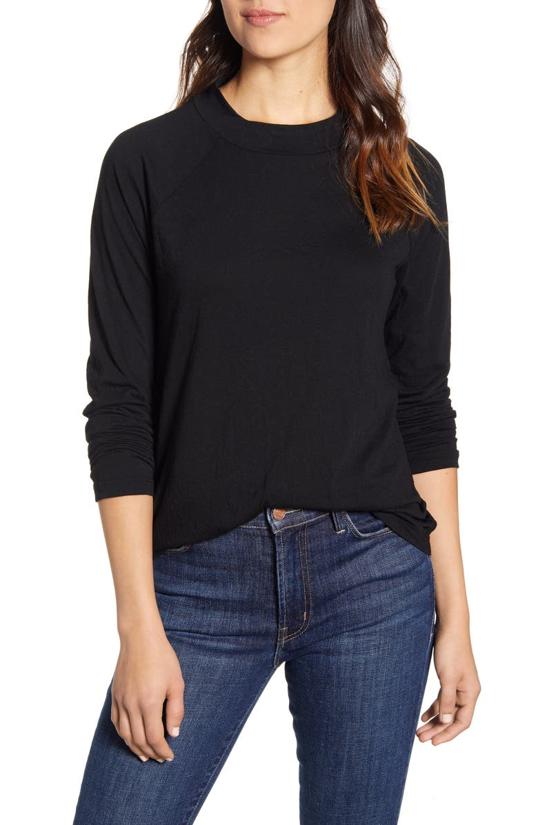 CASLON<SUP>®</SUP> Raglan Sleeve Tee, Main, color, BLACK