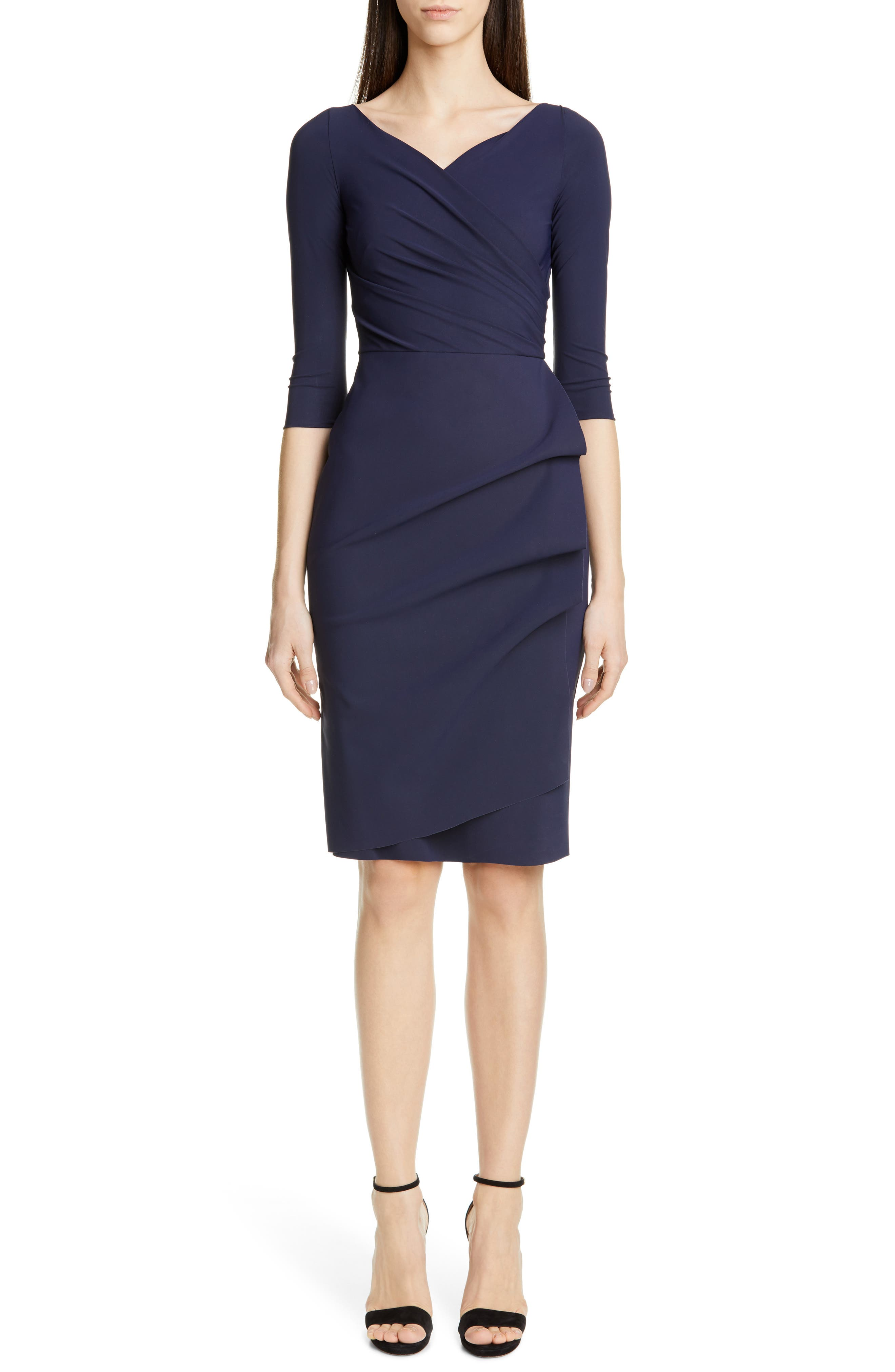 ,                             Florien Ruched Cocktail Dress,                             Main thumbnail 1, color,                             MIDNIGHT