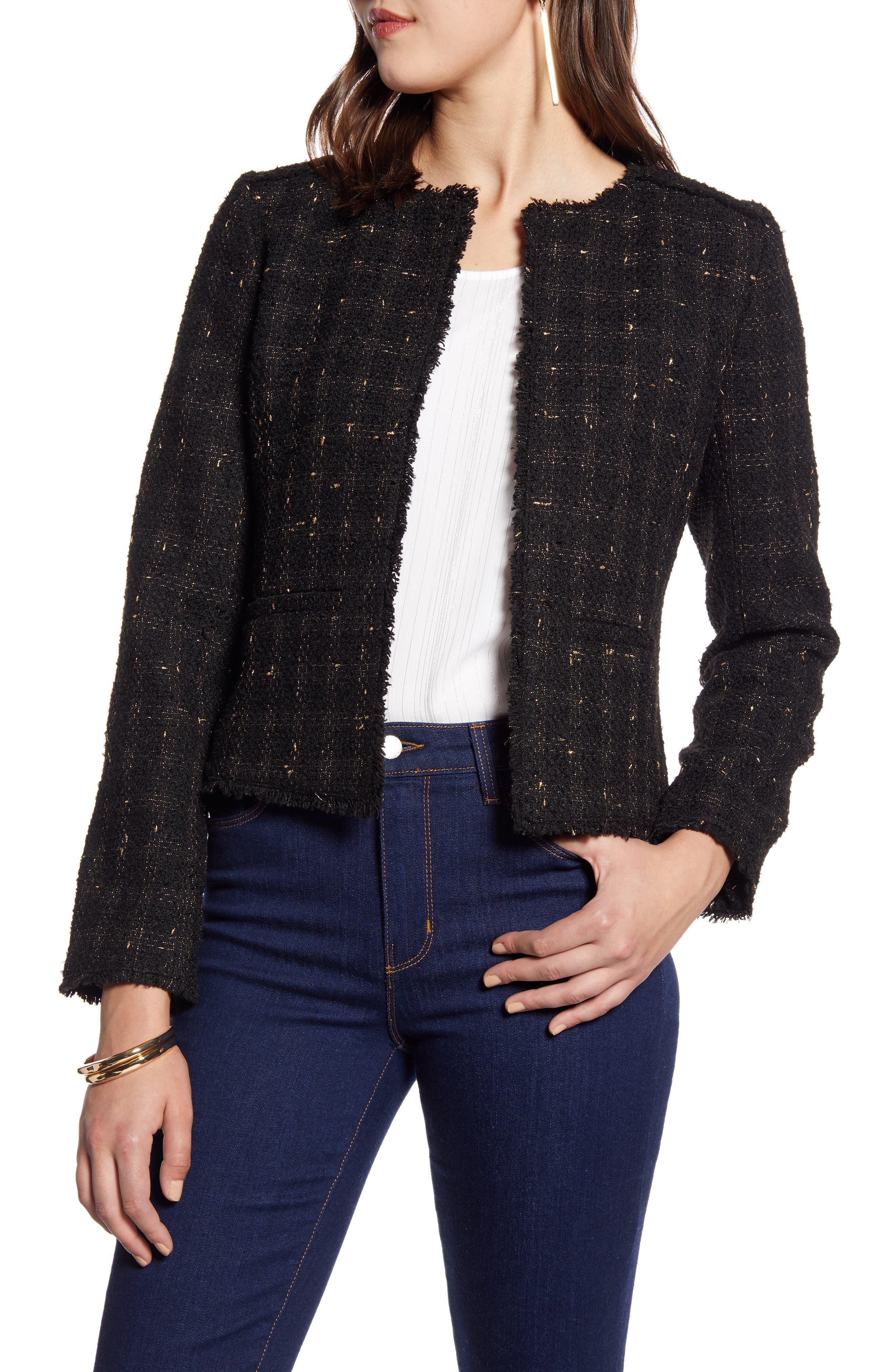 Halogen® Metallic Tweed Jacket