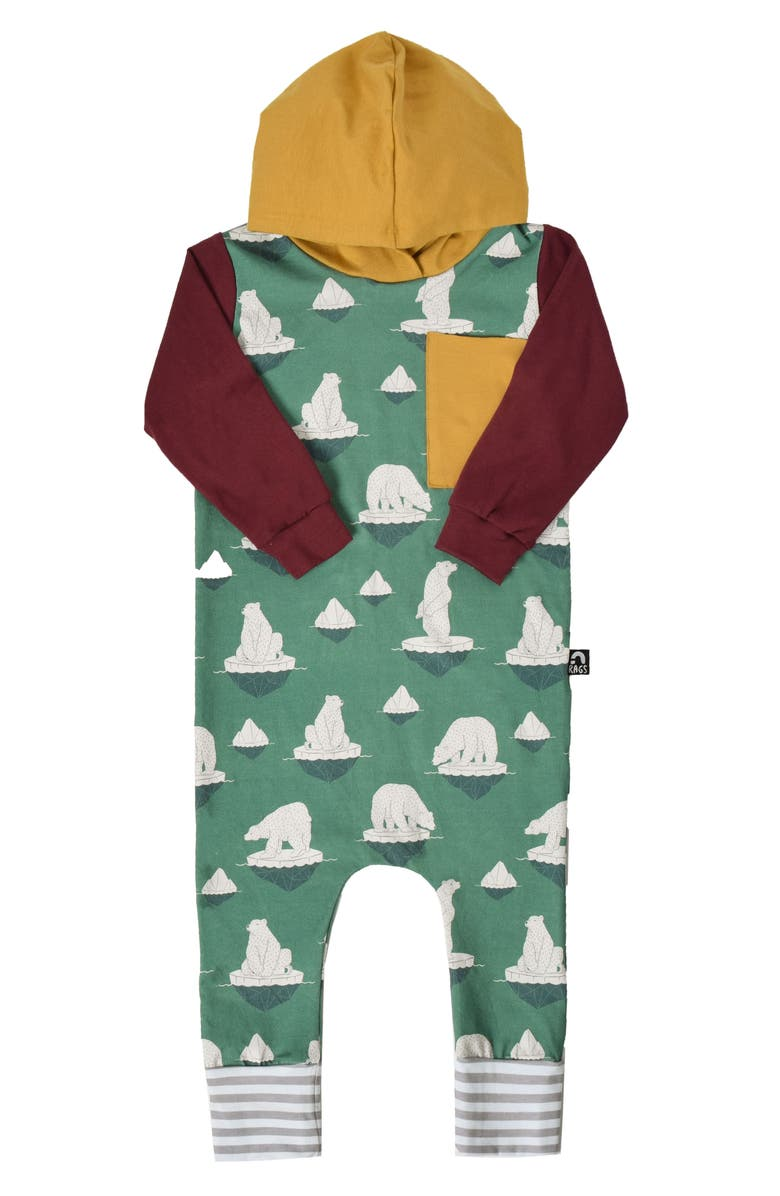 RAGS Polar Bear Hooded Romper, Main, color, FROSTY SPRUCE/ POLAR BEARS