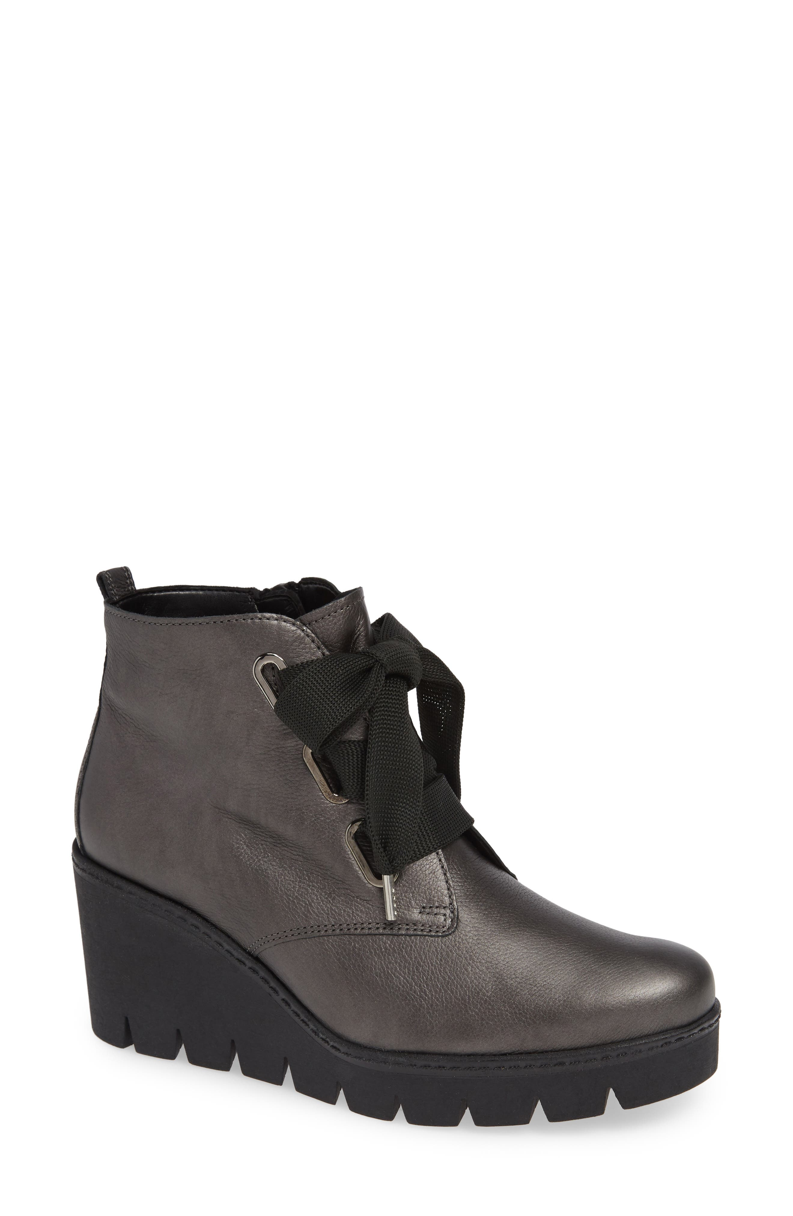 Friendly Wedge Bootie, Main, color, GREY LEATHER