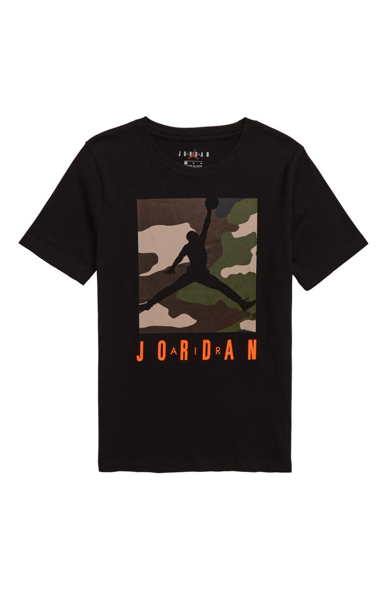JORDAN Knock Out Camo Box T-Shirt, Main, color, BLACK