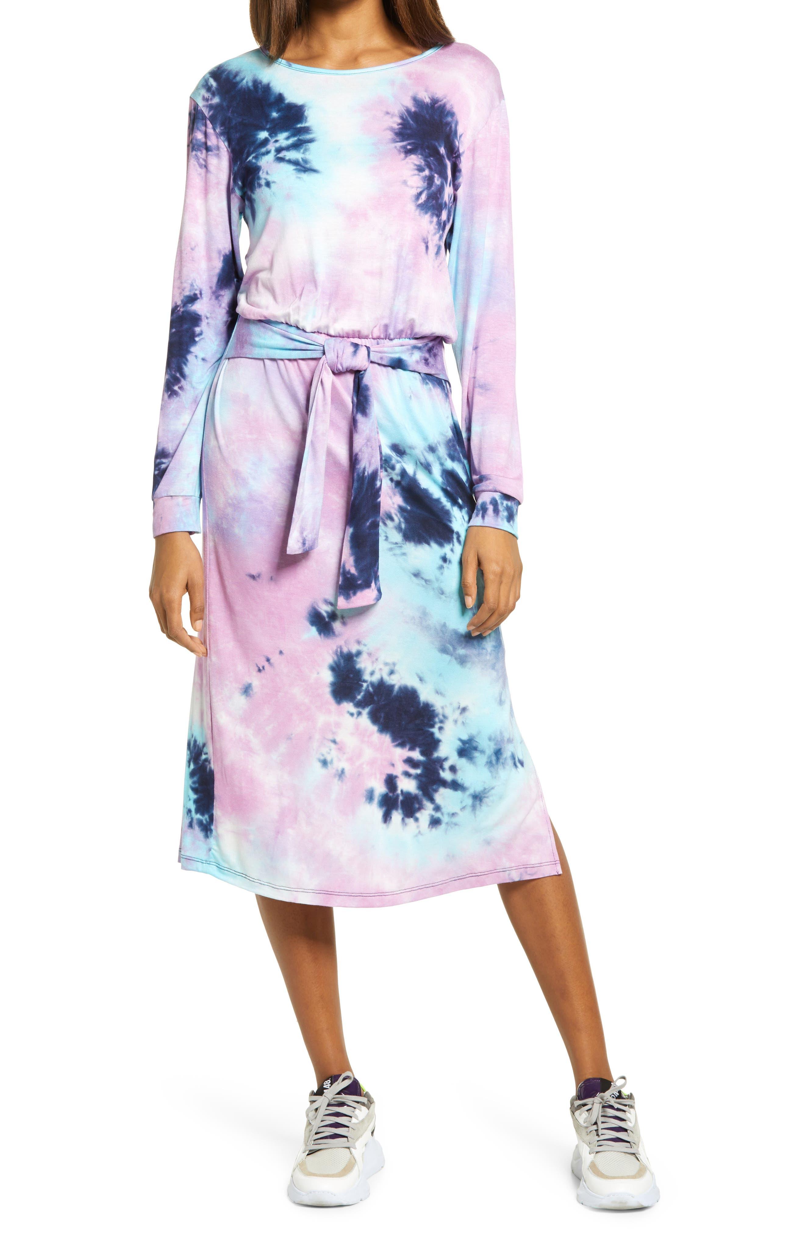 Tie Dye Belted Long Sleeve Midi Dress