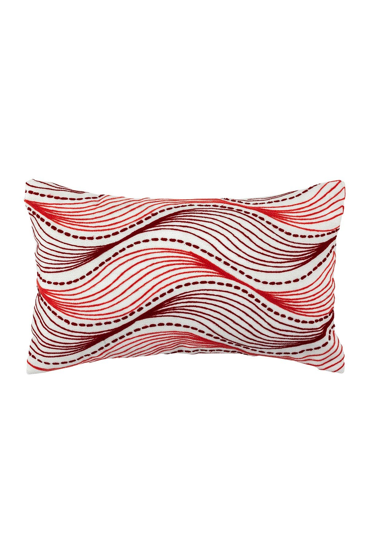 "Image of DIVINE HOME Embroidered Waves Outdoor Pillow - 12"" x 20"" - Red/Pink"