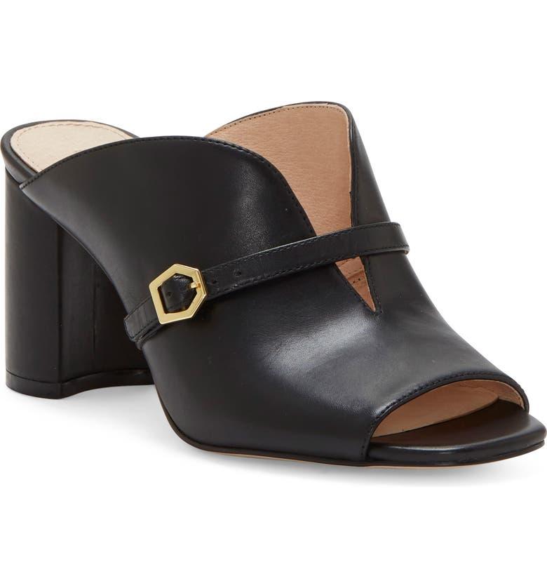 LOUISE ET CIE Kimba Slide Sandal, Main, color, BLACK LEATHER