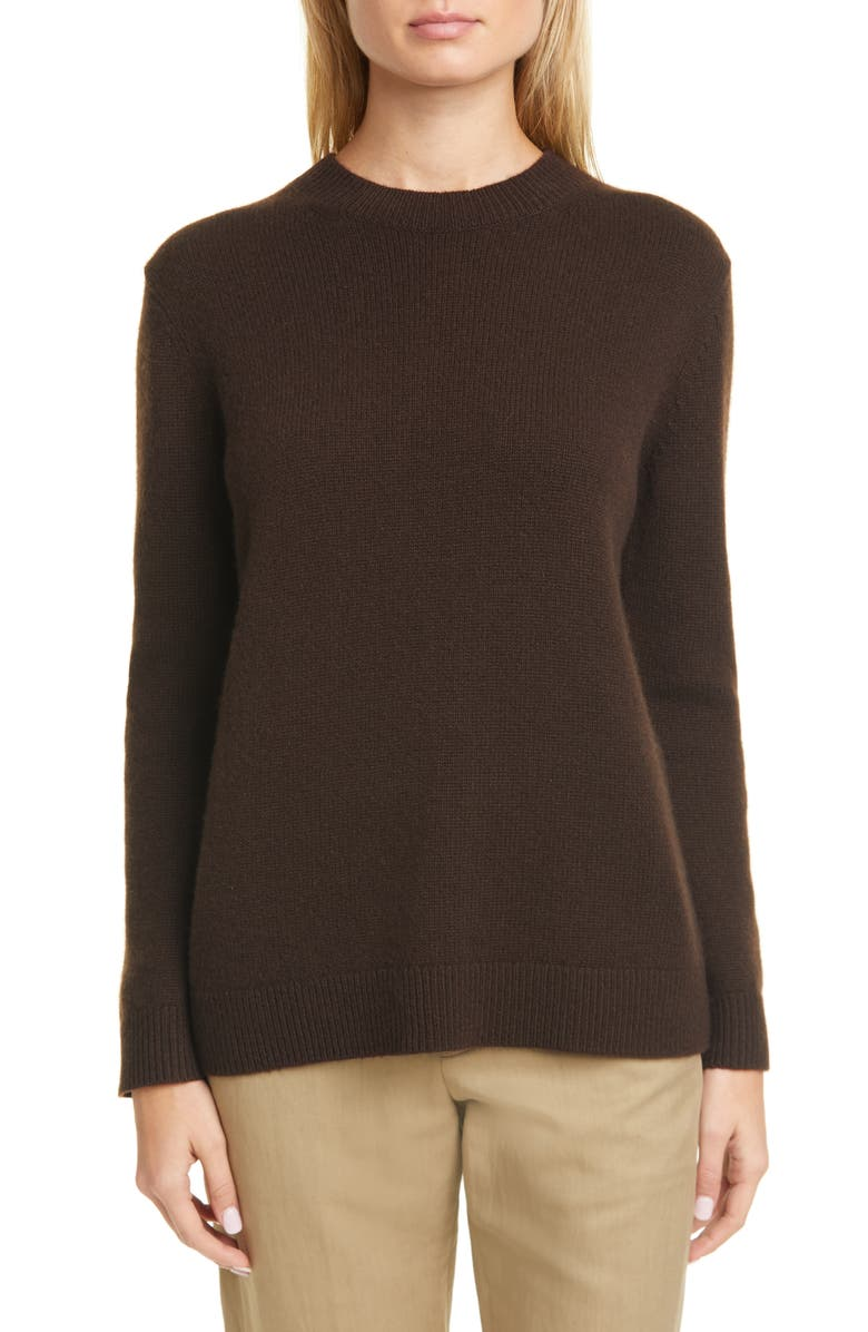 THEORY Crewneck Cashmere Sweater, Main, color, DEEP BROWN