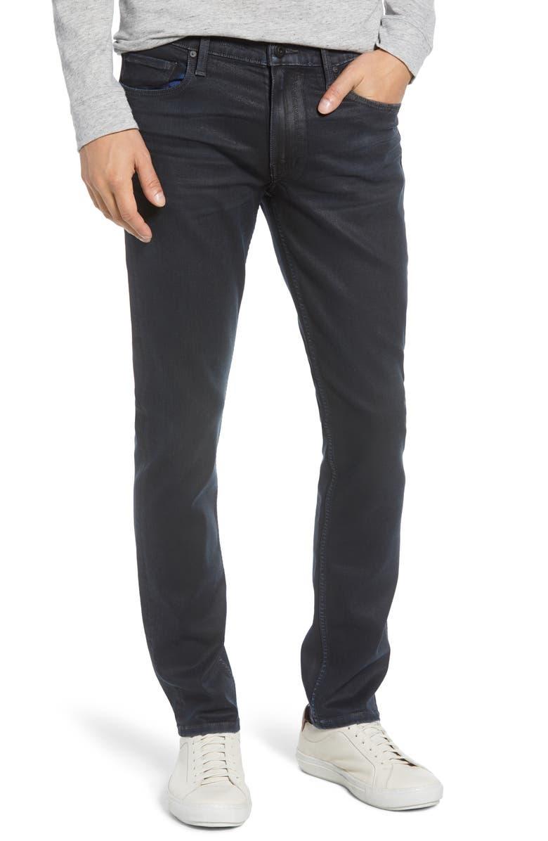 PAIGE Transcend - Lennox Slim Jeans, Main, color, BLACK SEA COATED
