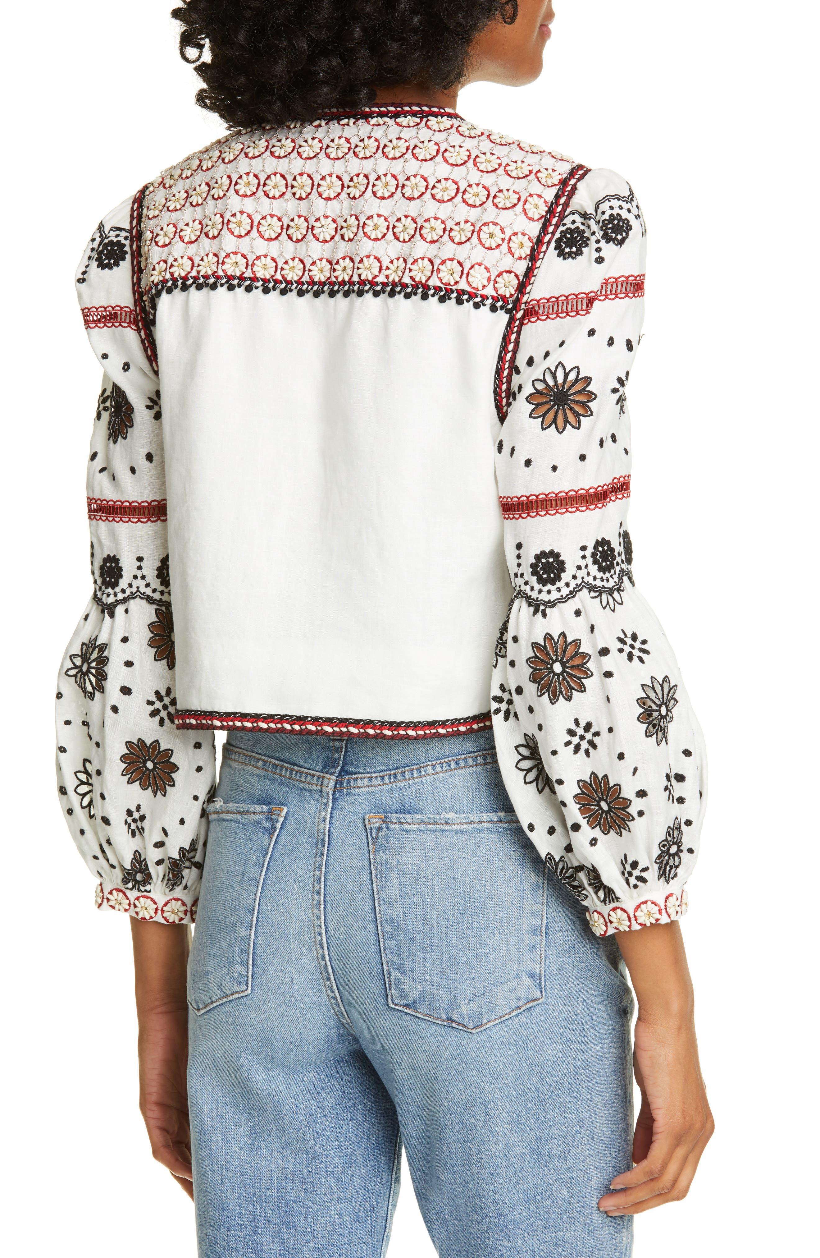 ,                             Shilin Embellished Linen Jacket,                             Alternate thumbnail 2, color,                             OFF-WHITE
