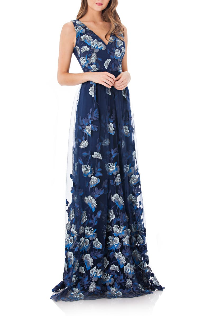 c9fa06f9 Carmen Marc Valvo Infusion Embroidered Mesh Gown   Nordstrom