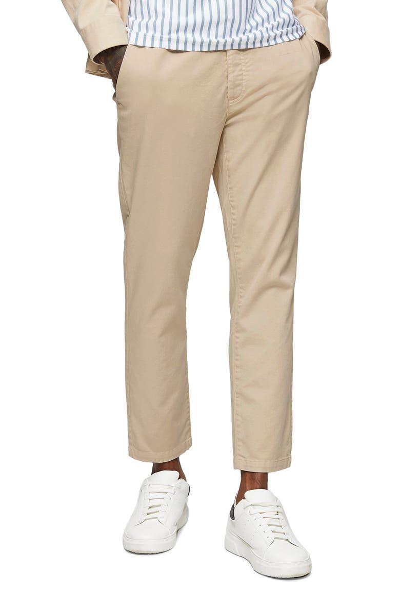 TOPMAN Whyatt Classic Tie Waist Stretch Skinny Joggers, Main, color, STONE