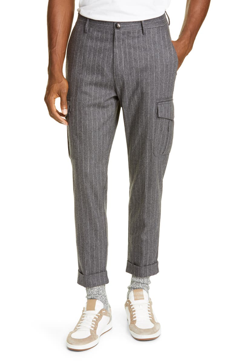 ELEVENTY Pinstripe Stretch Wool & Cashmere Cargo Pants, Main, color, CHARCOAL