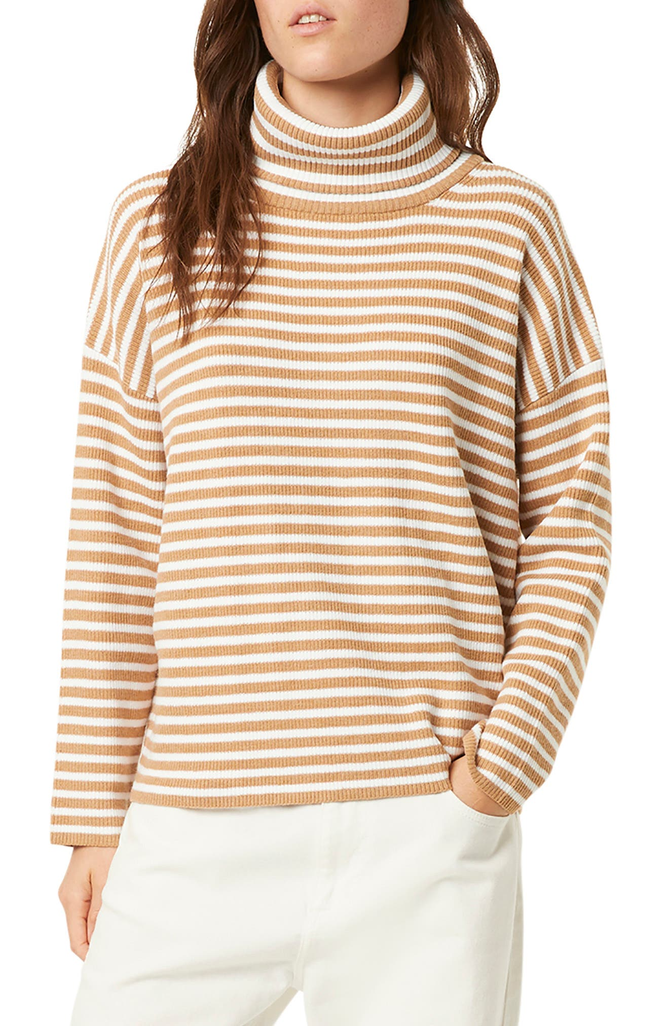 French Connection Tops Stripe Micro Ribbed Turtleneck Sweater