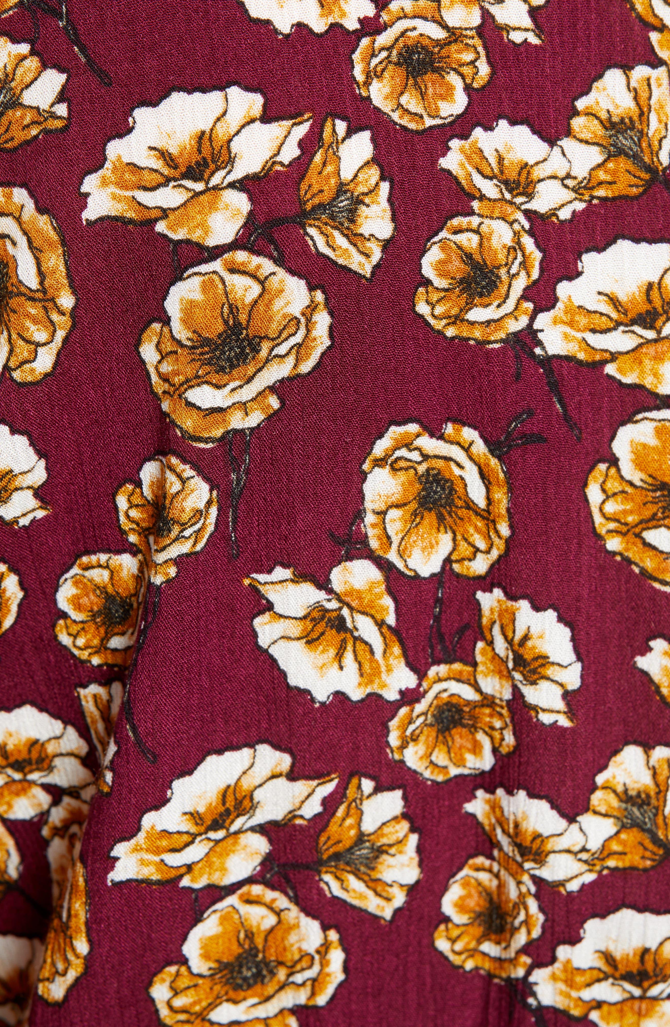 ,                             Surplice Midi Dress,                             Alternate thumbnail 6, color,                             BERRY/ GOLD FLORAL