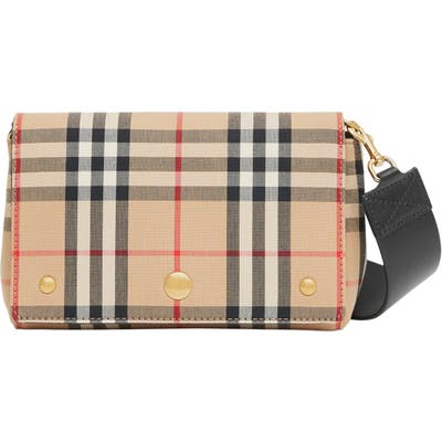 Burberry Note Vintage Check & Leather Crossbody Bag - Beige